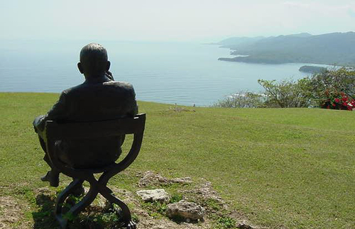 The statue of Coward looks out over the stunning view.