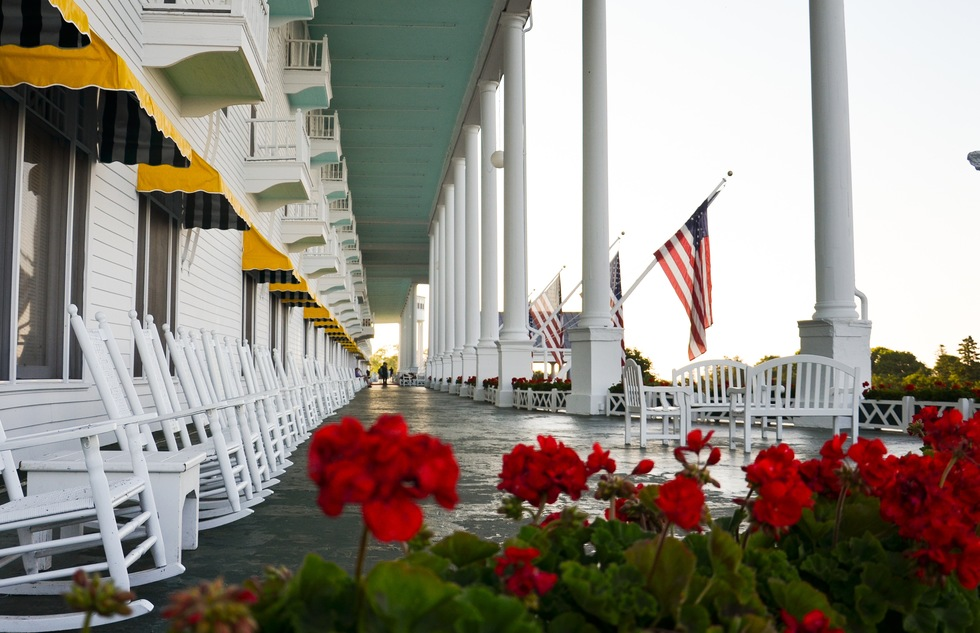 Porch of the Grand Hotel on Mackinac Island, Michigan