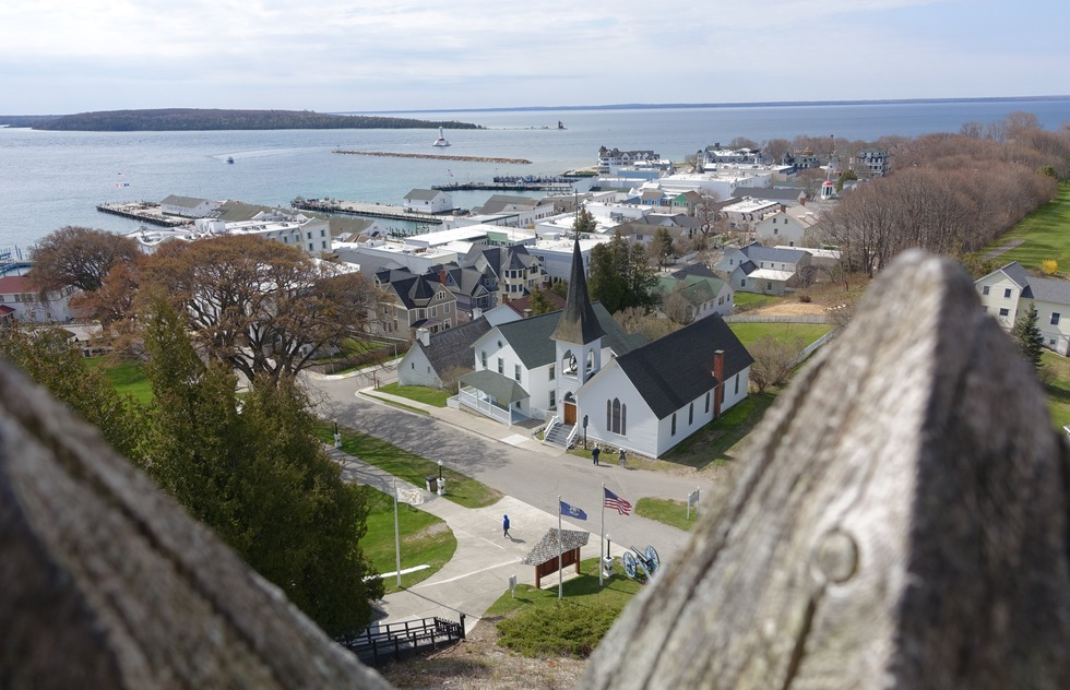 A view of the central town on Mackinack Island from Fort Mackinac