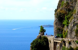 A tight turn on the Amalfi Coast in Italy