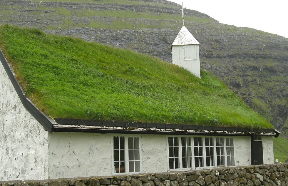 A grass-roofed church in the Faroe Islands