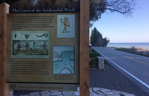 A road sign gives Native American history on Macinack Island, Michigan