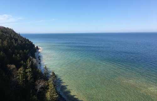 The shoreline of Mackinac Island, Michigan