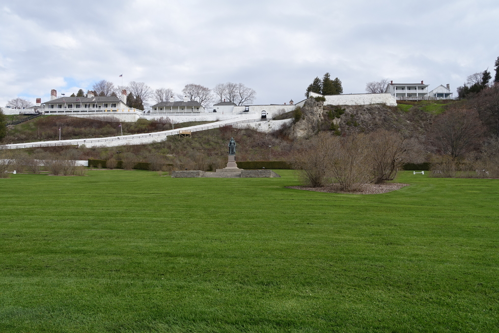 A view of Fort Mackinac, Michigan from the town below