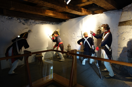 Dummies set up to show how soldiers fought the first land battle in the War of 1812