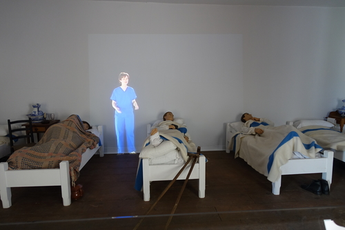 A 3-D projection of a woman discusses