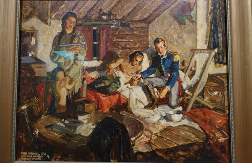 A painting of Dr. William Beaumont attending to the wounds of Alexis St. Martin