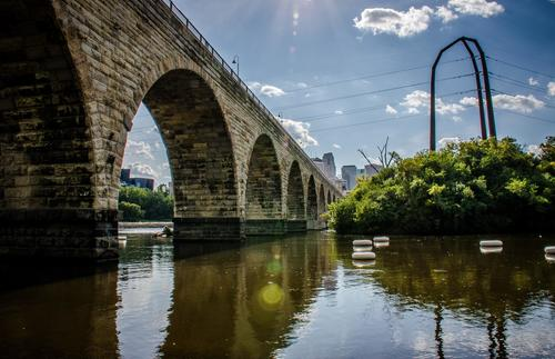 The Stone Arch Bridge looks over the Mississippi River's St. Anthony Falls