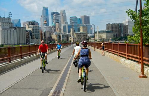 The Stone Arch Bridge is a popular place for Minneapolis bikers.