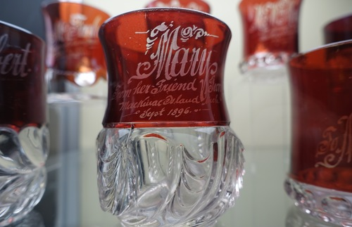 Hand etched souvenirs from the early days of Mackinac tourism