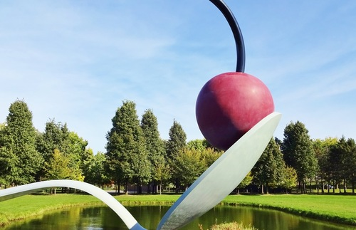 """Spoonbridge and Cherry"" by Claes Oldenburg and Coosje van Bruggen, located in the Walker Art Center's sculpture garden in Minneapolis"