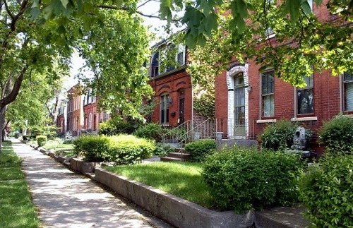 A street in Chicago's historic Pullman District