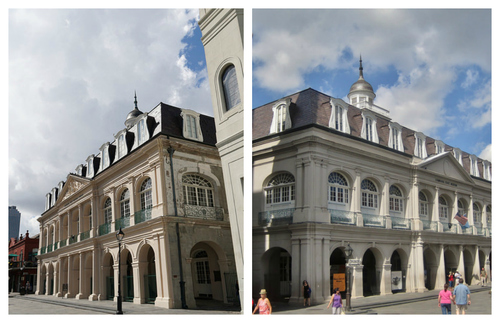 This collage shows on image of the Cabildo's facade on the left and then the Presbetère on the right.