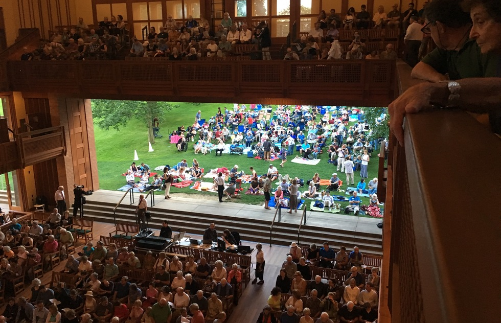An inside/outside view of the Seiji Ozawa Hall at Tanglewood in Lenox, MA