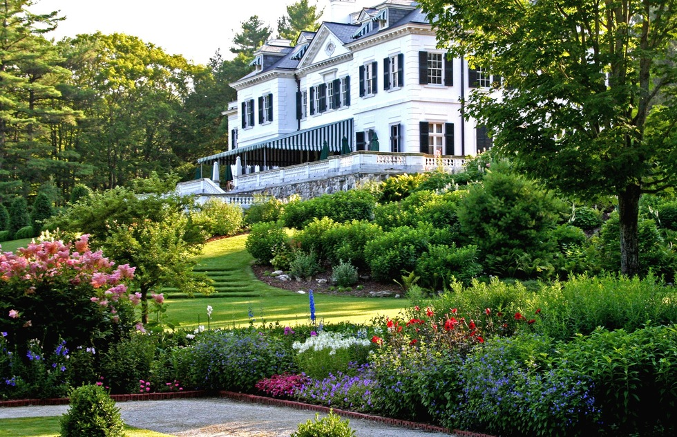 A view of the garden's and mansion at Edith Wharton's former Lenox, MA home