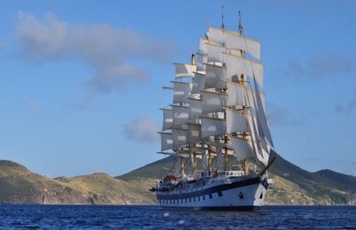 A Star Clippers tall ship in the Caribbean