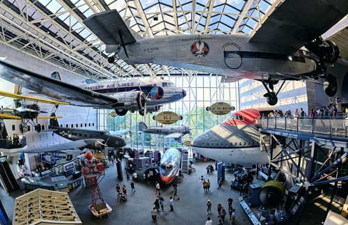 Planes hanging from atrium cieling