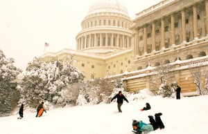 Sledding on Capitol Hill in Washington, D.C.