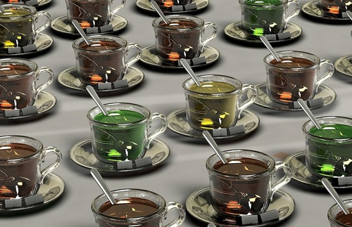 A group of cups of tea