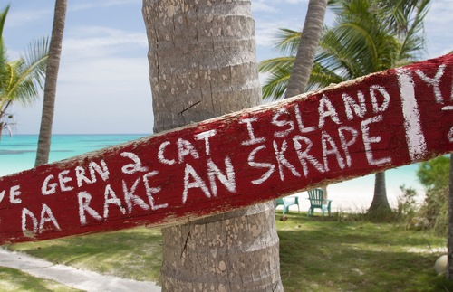 Sign on Cat Island in the Bahamas