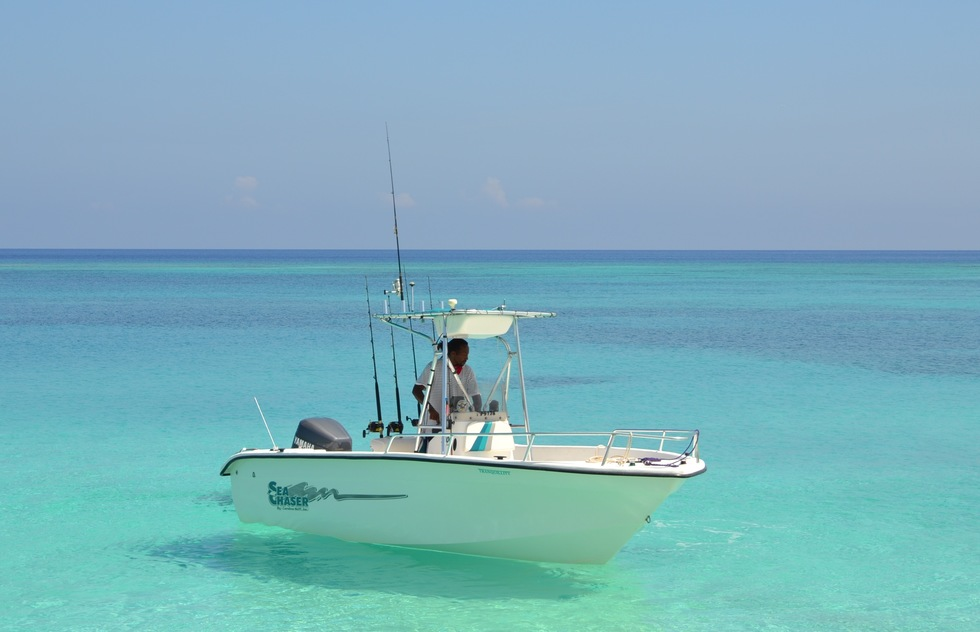 Boating off Crooked Island in the Bahamas