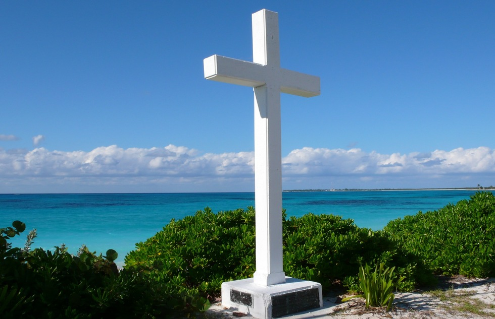 Christopher Columbus cross on the island of San Salvador in the Bahamas