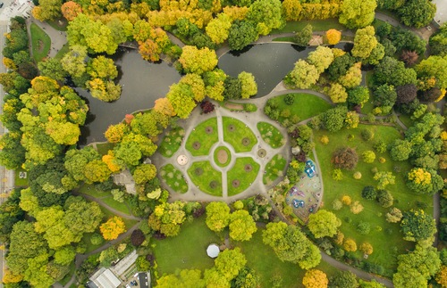Aerial view of St. Stephen's Green in Dublin