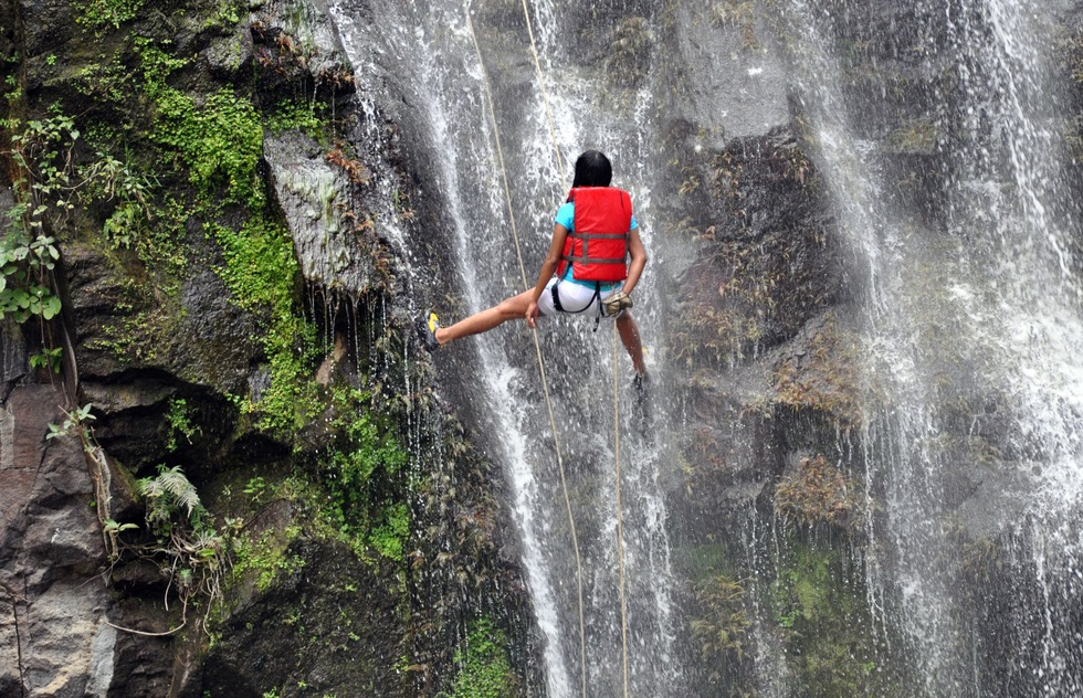 Rappelling down a waterfall in Estelí, Nicaragua