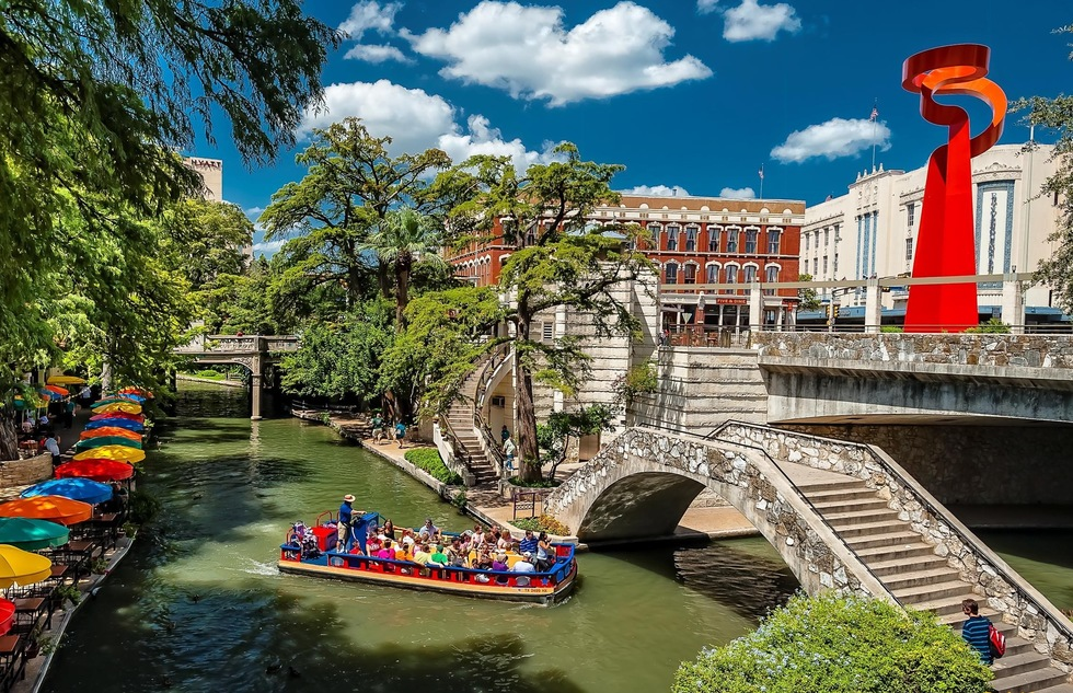 A turbot floats down San Antonio's Riverwalk