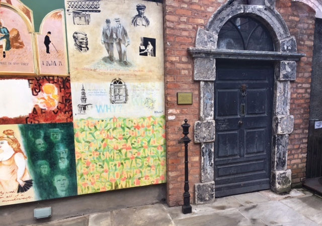 Front door of No. 7 Eccles Street at the James Joyce Centre in Dublin