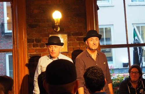 Performers in a literary pub crawl in Dublin