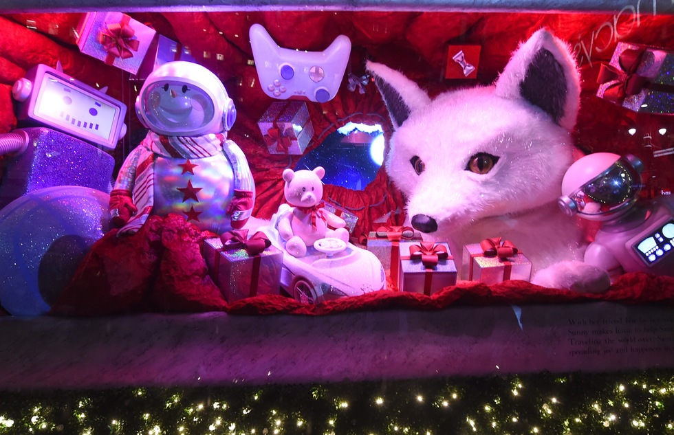 2018 holiday window display at Macy's Herald Square in New York City