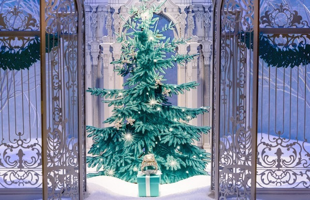 Holiday window display at Tiffany & Co. in New York City