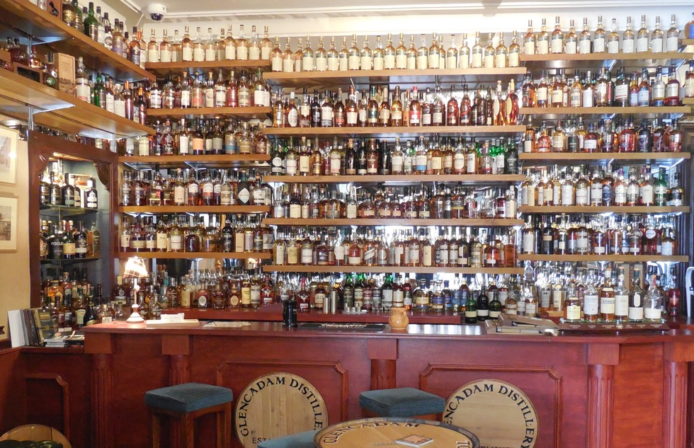 Whisky collection at the Glenesk Hotel in Angus, Scotland