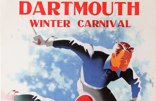 Vintage Poster For The Dartmouth Winter Carnival At College In New Hampshire