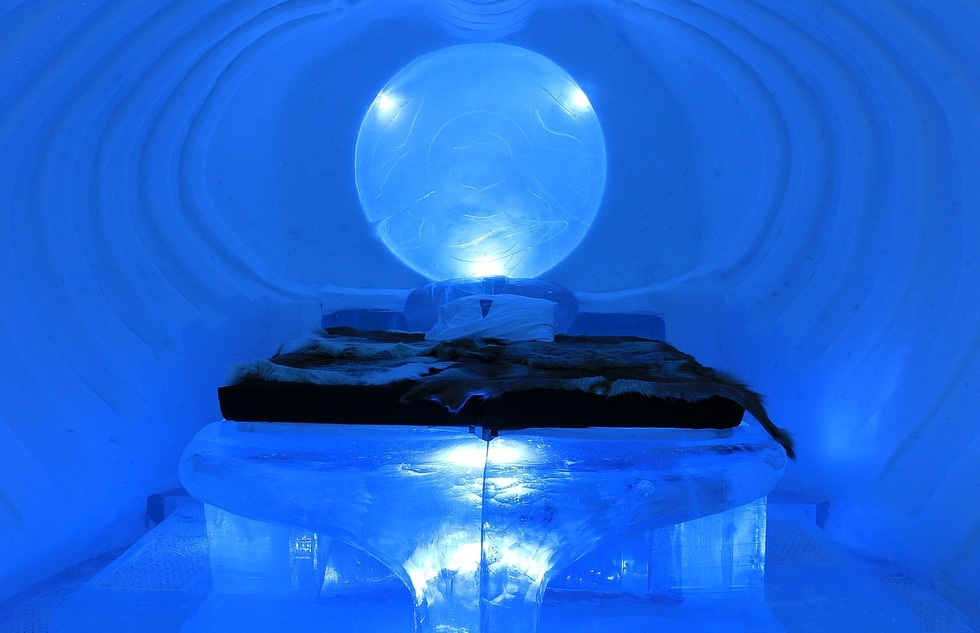 A guest room in Sweden's Icehotel