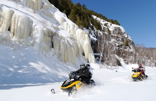 Snowmobiling in the Mauricie region of Quebec