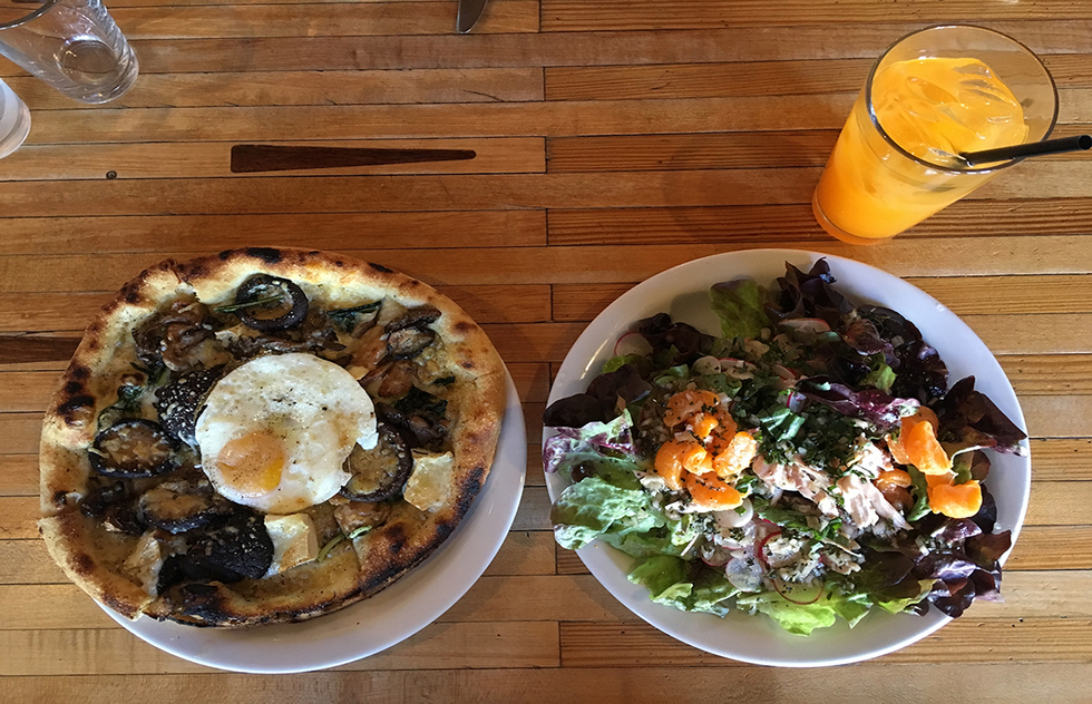 Pizza and salad from Industrial Eats restaurant in Buellton, California