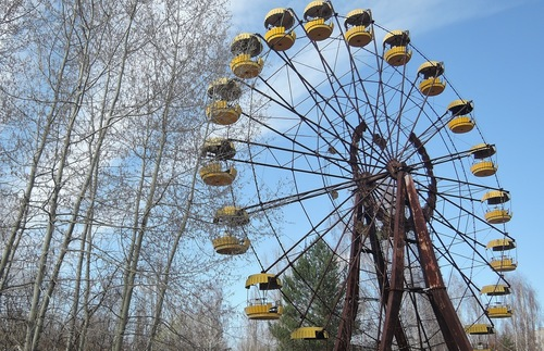 Abandoned amusement park in the Chernobyl exclusion zone in the Ukraine
