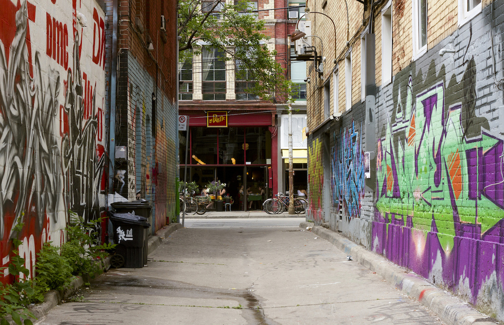 Toronto's Graffiti Alley opens onto a street lined with restaurants