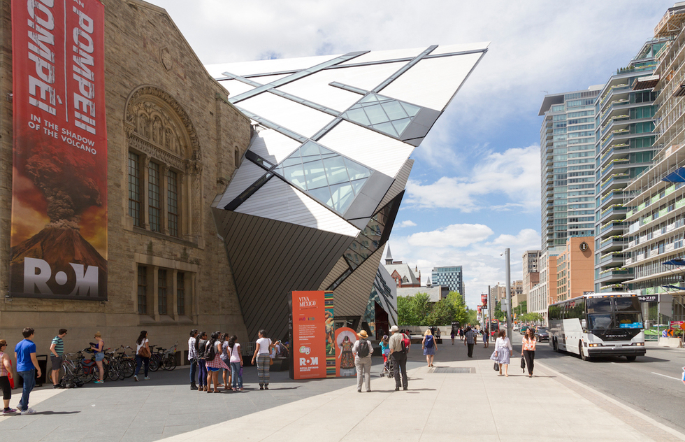 The limestone and glass exterior of the Royal Ontario Museum
