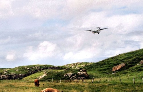 Plane over pasture in Donegal, Ireland