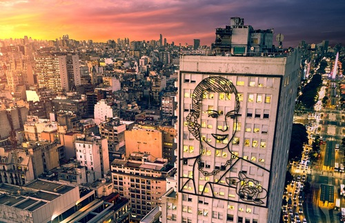 Eva Perón portrait on the Ministry of Health building in Buenos Aires
