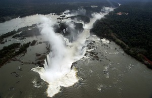 Aerial view of Iguaçu Falls in Brazil