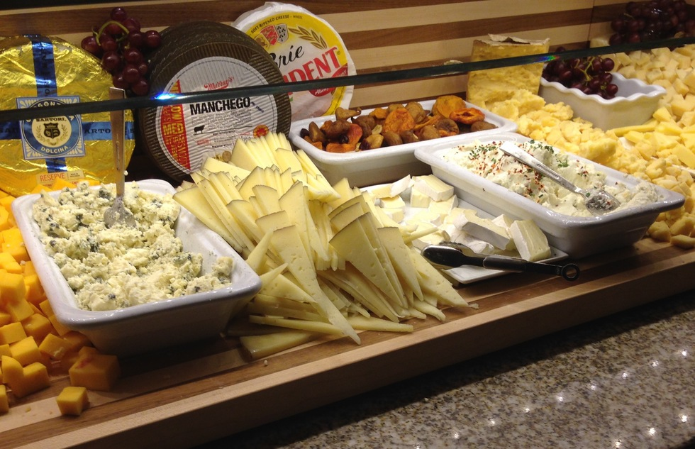 Selection of cheeses at the Bacchanal Buffet at Caesars Palace in Las Vegas
