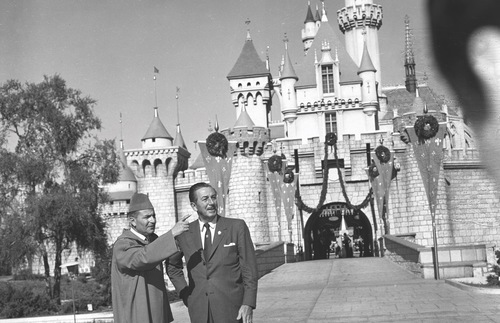 Walt Disney with King Mohammed V of Morocco at Disneyland, 1957.