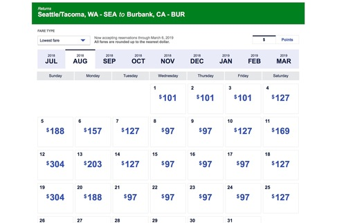 Airline's flexible dates of travel pricing calendars