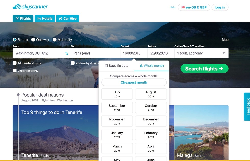 Find the cheapest airfare: Try Skyscanner's whole-month price searcher