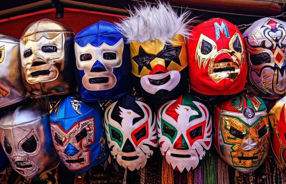 Masks for sale on Olvera Street in Los Angeles
