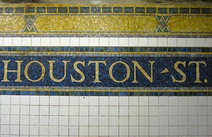 Houston Street subway tiles in New York City